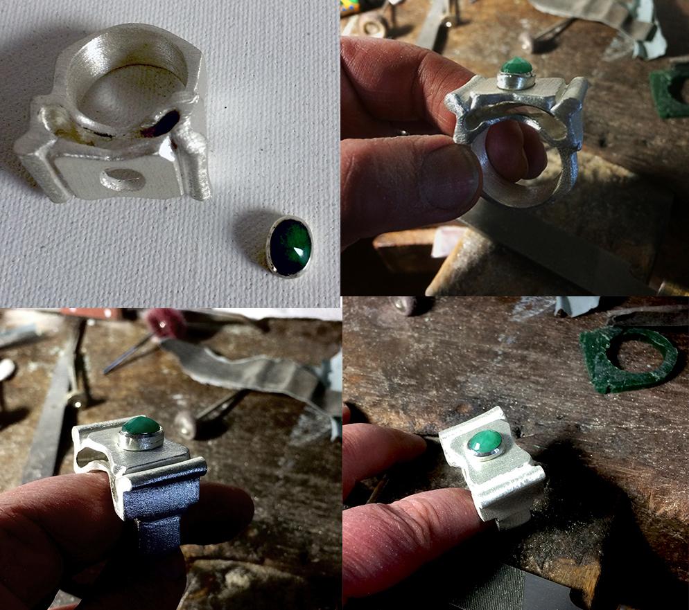 Doamabijoux création d'une bague en argent avec une émeraude.