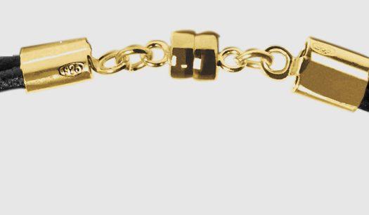Bracelet vermeil or jaune fermeture aimantee anneaux soudés au laser