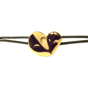 Bracelet MATER vermeil or jaune, cuir noir, femeture aimantée
