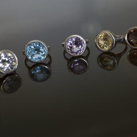 Collection VERA, bagues argent, zircone, topaze bleue, améthyste, citrine et quartz fumé
