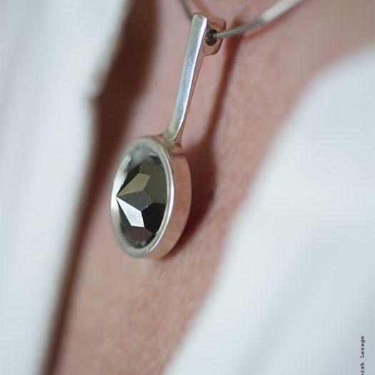Vera collier maille oméga argent massif pierre Swarovski hématite