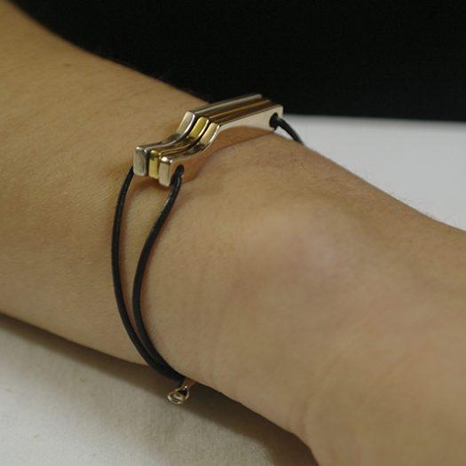 Bracelet Scala Mini 3C, argent et vermeil.