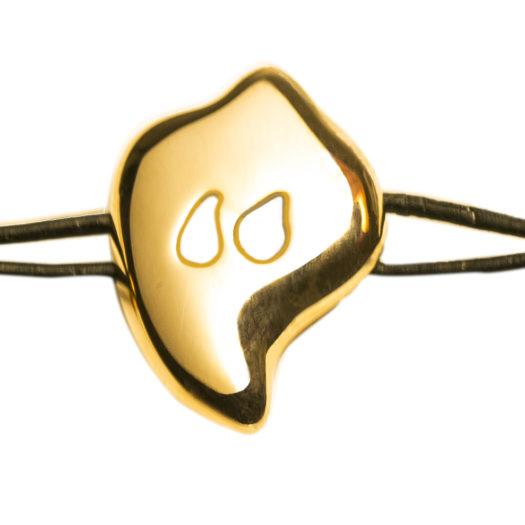 Doamabijoux, Bracelet GOCCIA, plaqué or jaune, cuir noir.