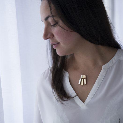 Collier SCALA 3C BIG, fil transparent, bijou précieux argent et vermeil, bijou mobile