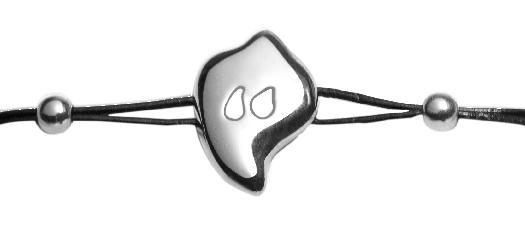Doamabijoux, Bracelet GOCCIA, argent, cuir noir.