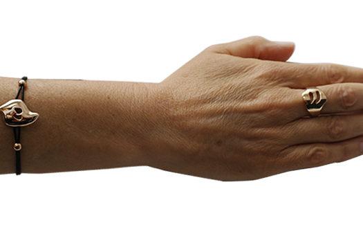 Doamabijoux bracelet et bague GOCCIA Ajourés portés, cuir noir